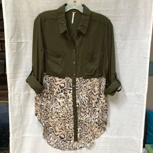 Free People Welcome To The Jungle Button-Down Top